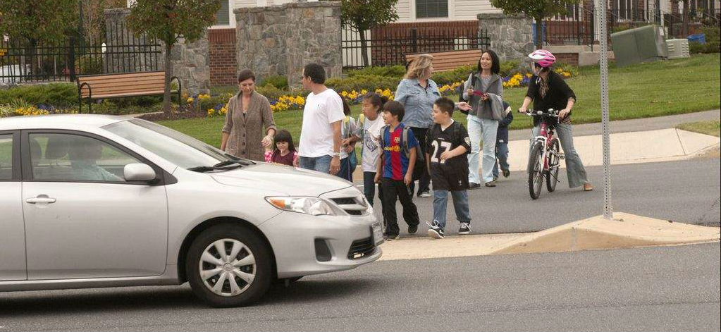 Clarksburg Elementary students walk to school